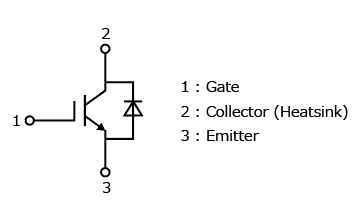 The illustration of internal circuit of a discrete IGBT that helps reduce the power consumption and radiated emission of home appliances : GT30J110SRA.
